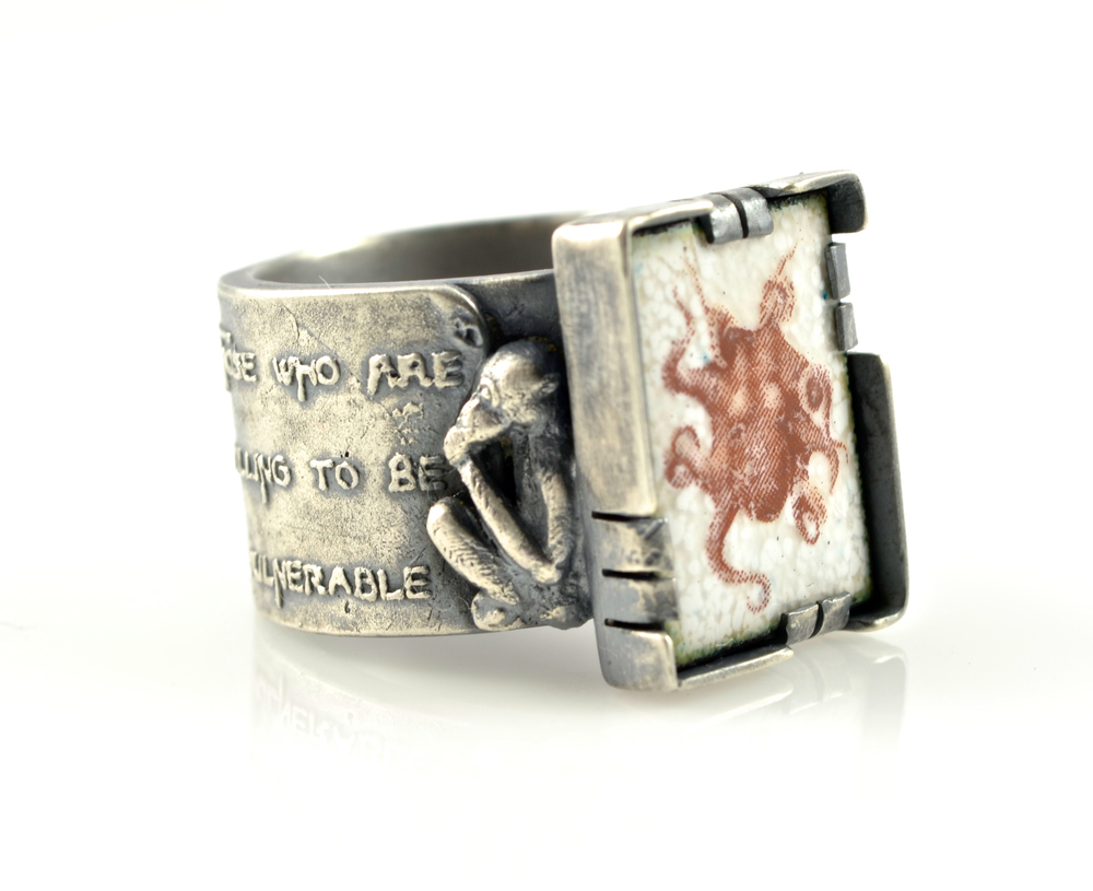 Map of wonders enamel and silver ring by Kim Nogueira