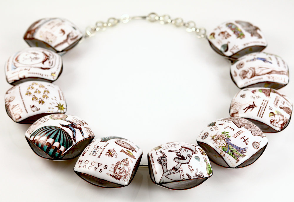 Axis Mundi collar from the East of Hercules collection;  silver, copper, vitreous enamel; 2019