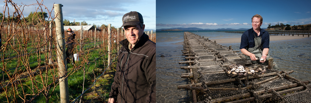 Matt Dunbabin with his vines, and Tom Gray with his oysters.