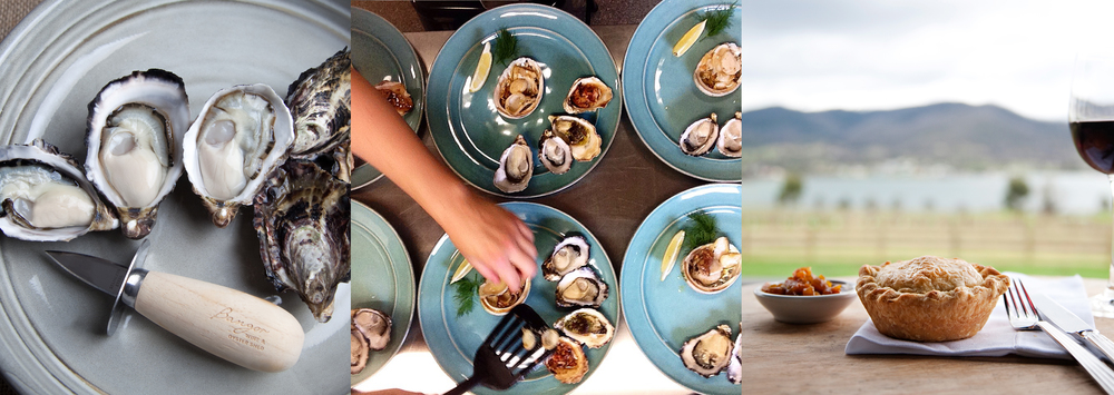 Our freshly shucked oysters, abalone and oyster tasting plates and our Bangor beef pie, served with homemade relish.