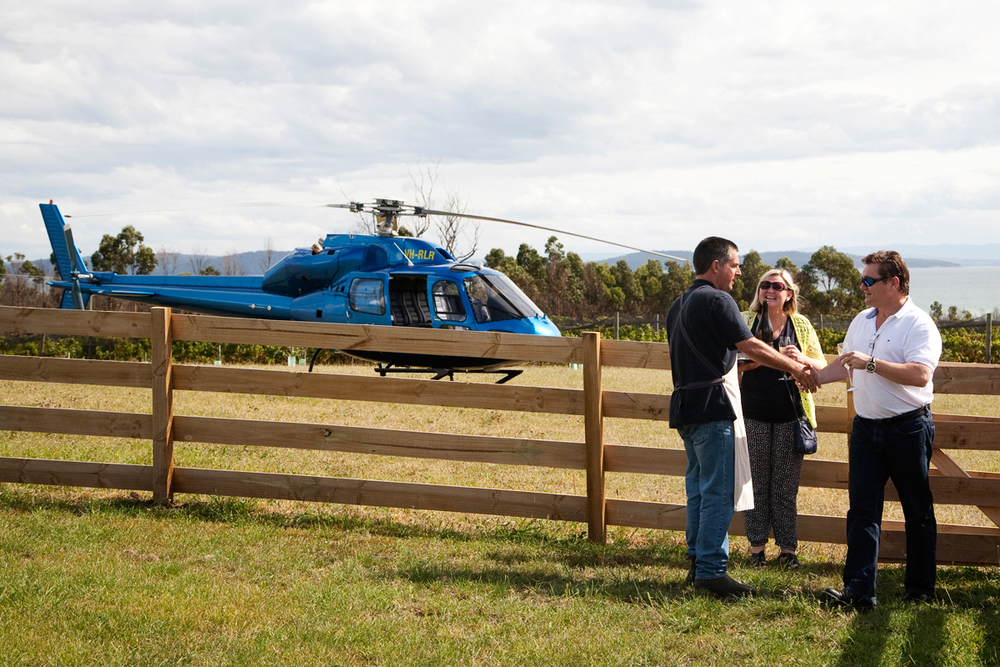Helicopters land right next to the vineyard, where we can greet VIP's with a glass of sparkling and a warm welcome.