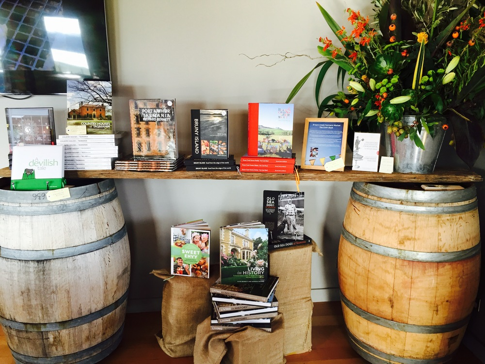Some of the books in the Bangor Shed. All produced by local photographers, chefs and authors.