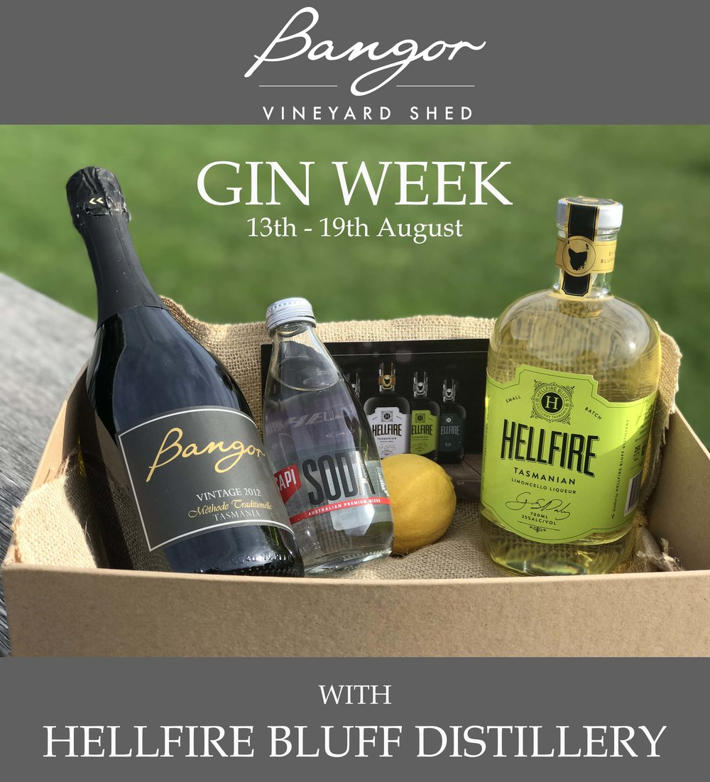 Gin Week at Bangor - Mon 13th - Sun 19th of August is Gin Week at Bangor! We are teaming up with the lovely people at Hellfire Bluff Distillery to bring you a week of cocktails (G&T, and Limoncello Spritz), and gin inspired food from Head Chef Bronwyn:- Blackberry and sloe gin cured ocean trout with citrus creme fraiche, pickled cucumber & rye crumb- Oysters with grapefruit, gin & Tasmanian pepperberry granita- Gin & tonic tartGin & cocktail gift packs for sale all week.Sunday 19th is the Grand Finale, with gin tastings from 11am and live music from 1:30pm. Open until 6pm on Sunday 19th to celebrate!*To book a table call us on 62 535 558