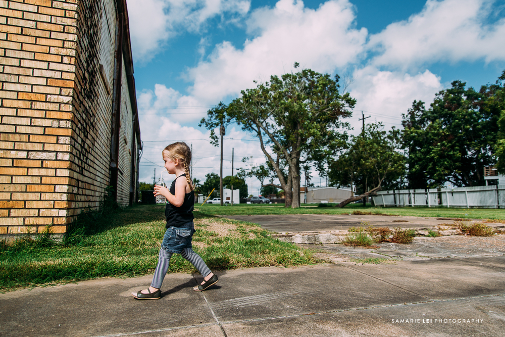Little girl walking through richmond, TX streets | Photographed by Samarie-lei