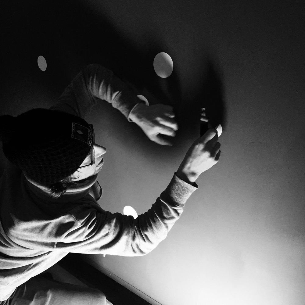 2KM3 contemporary art platform by Etienne de Fleurieu, painting on wall and ceiling, portrait, photo