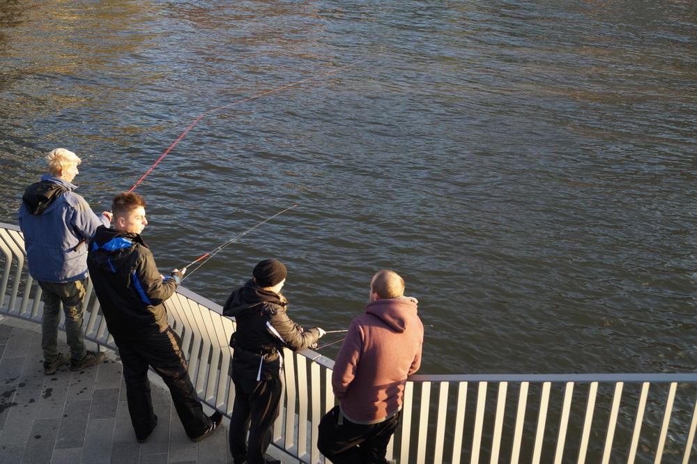 Fischer in der Speicherstadt