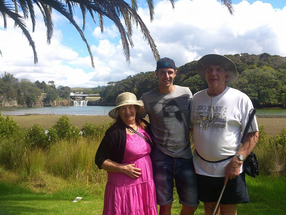 My BF and his grandparents in front of Haruru Falls