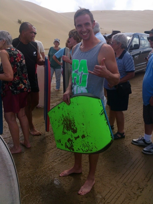 Micky ready for sandboarding!