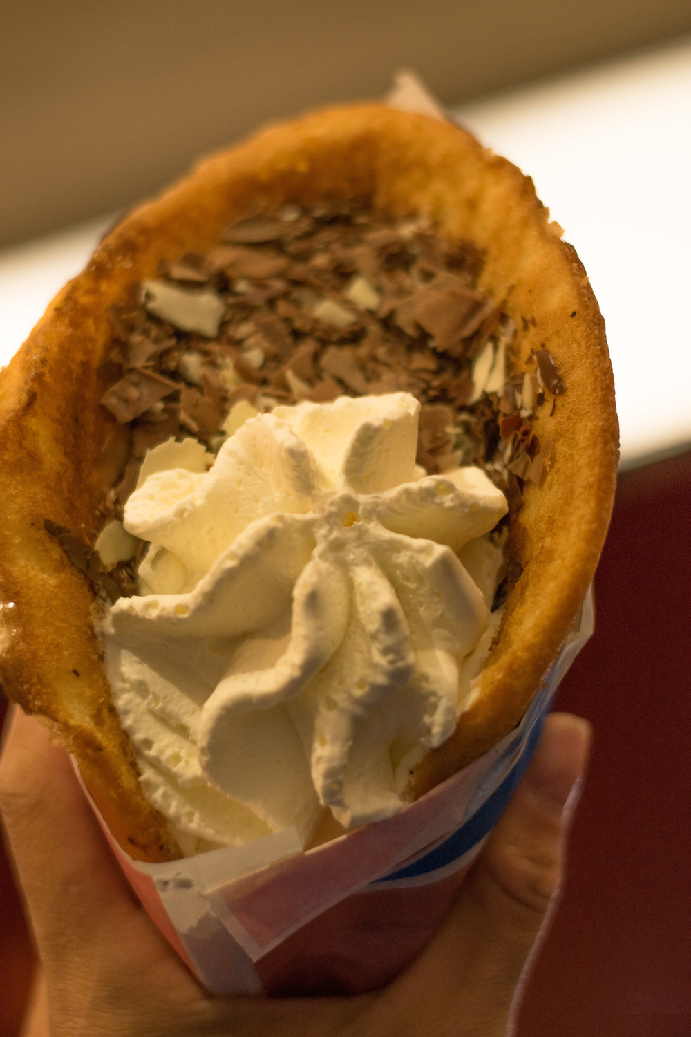 This is a waffle filled with choc - cut from a rotisserie (kebab style!)