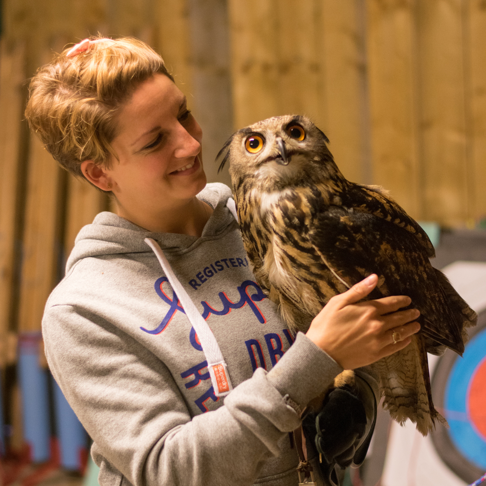 Karl the European Eagle Owl, Rosliston Forestry Centre, Evening with Owls, hugging an owl, owl cuddles