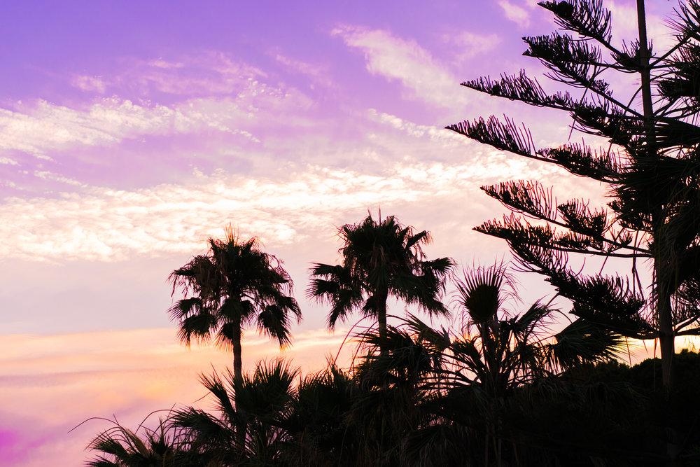 marbella, puerto banus, san pedro beach, beach sunset, purple sky
