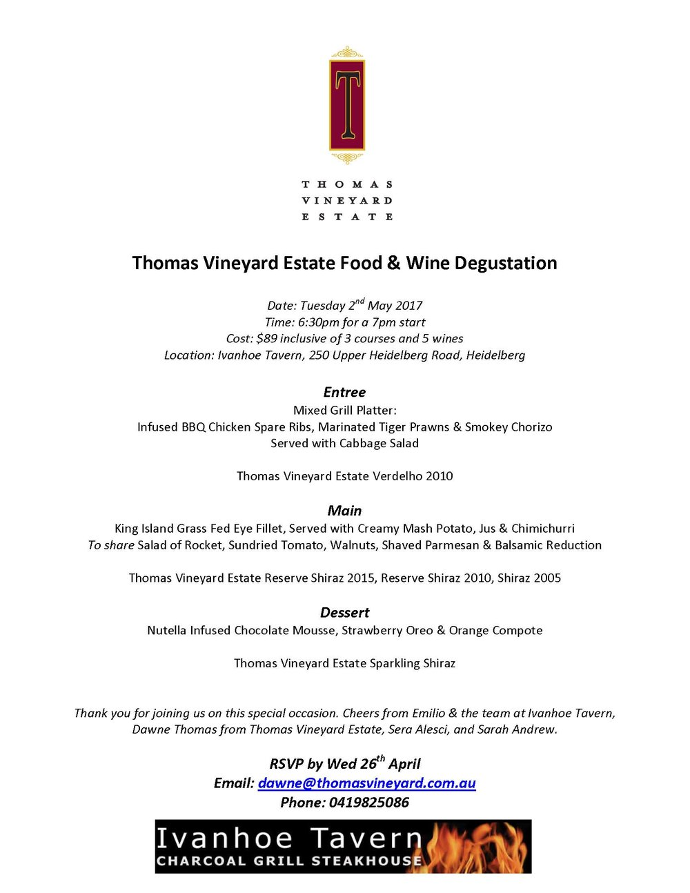 Thomas Vineyard Estate Food & Wine Degustation
