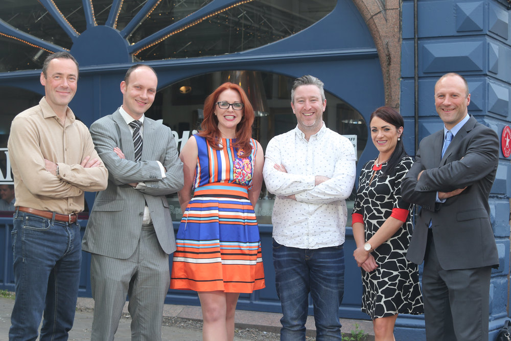 Ian Weatherup (Corvus Recruitment), Paul Beaney (Head of Business Development for The University of Ulster's Office of Innovation), Naomh McElhatton (DANI), Connor Doherty (CultureTECH), Donna Mullin (DANI) and Rick McKee (Linkubator).