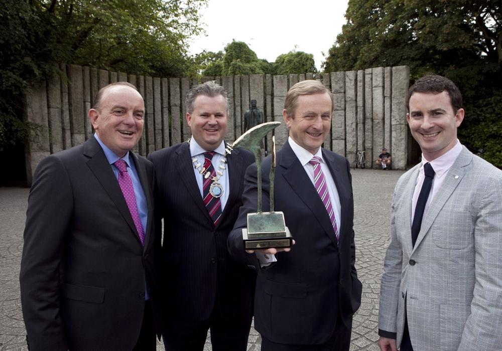 L_R: Nigel Heneghan, Chairman, PRCA Ireland; Niall Quinn, President, PRII; An Taoiseach, Enda Kenny & Chris Love, CIPR Northern Ireland