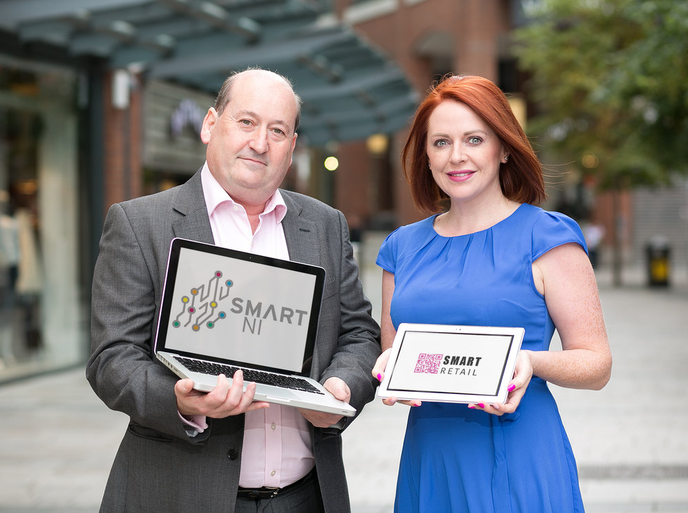 Pictured launching a one day masterclass for the retail industry is Naomh McElhatton, Smart NI nd David Morgan, Velocity Worldwide equipping retailers with digital marketing, innovation and echnologies to thrive and survive and creating better customer experiences. The event takes place on September 28th at The Culloden. For more information  https://ti.to/smart/retail