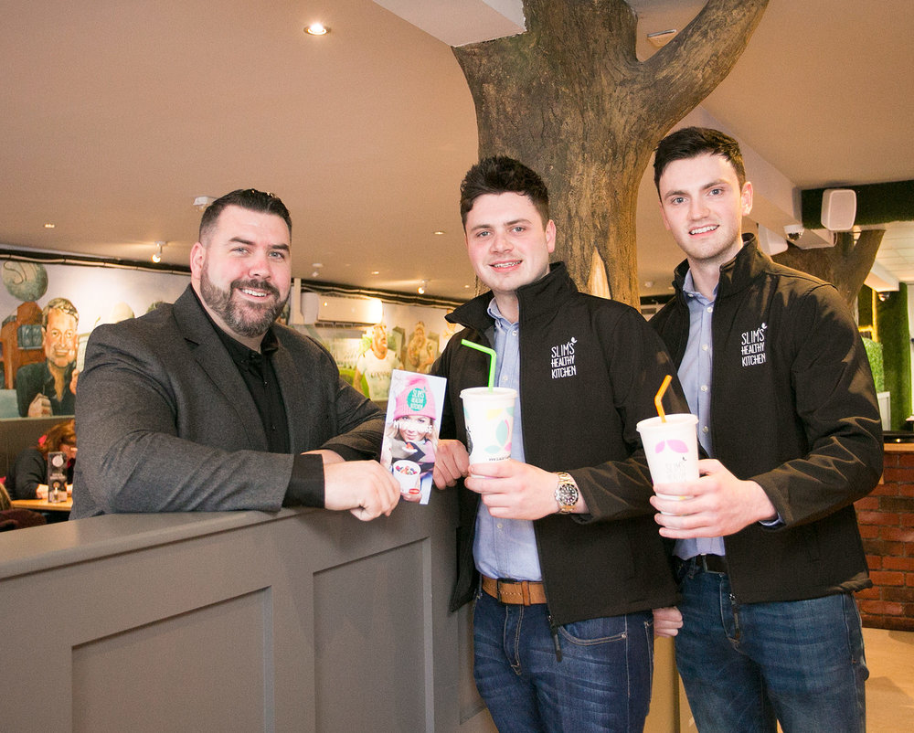 Slim's founder Gary McIldowney pictured with Conor & Ryan McGlone