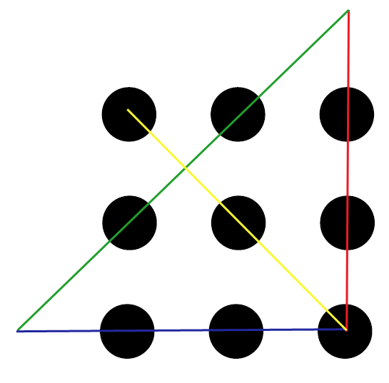 how to join nine dots with four lines