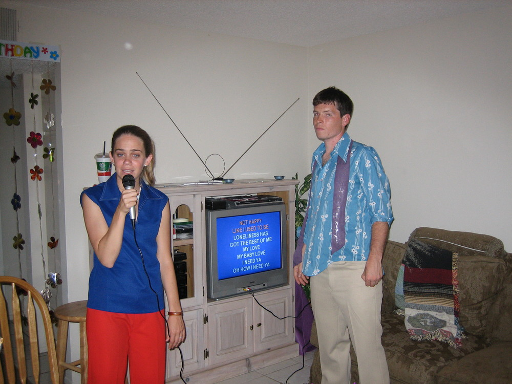 we had also sung a lot of karaoke together, sometimes while wearing 70s clothes from the thrift store