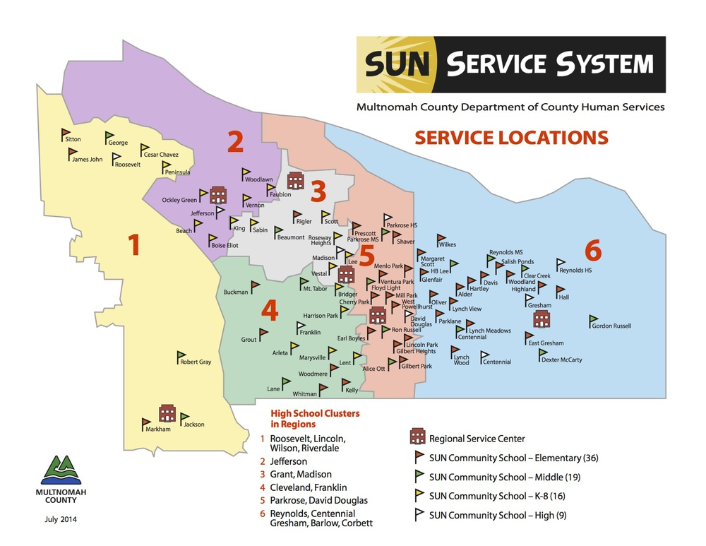 SUN schools map