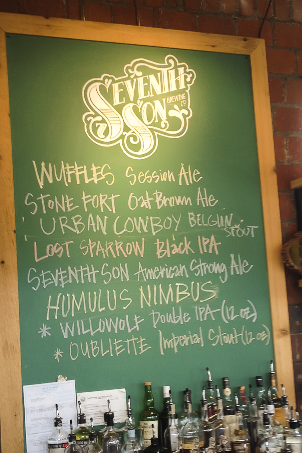 Daily draft list at Seventh Son Brewing Co. Photo byCatherine Murray