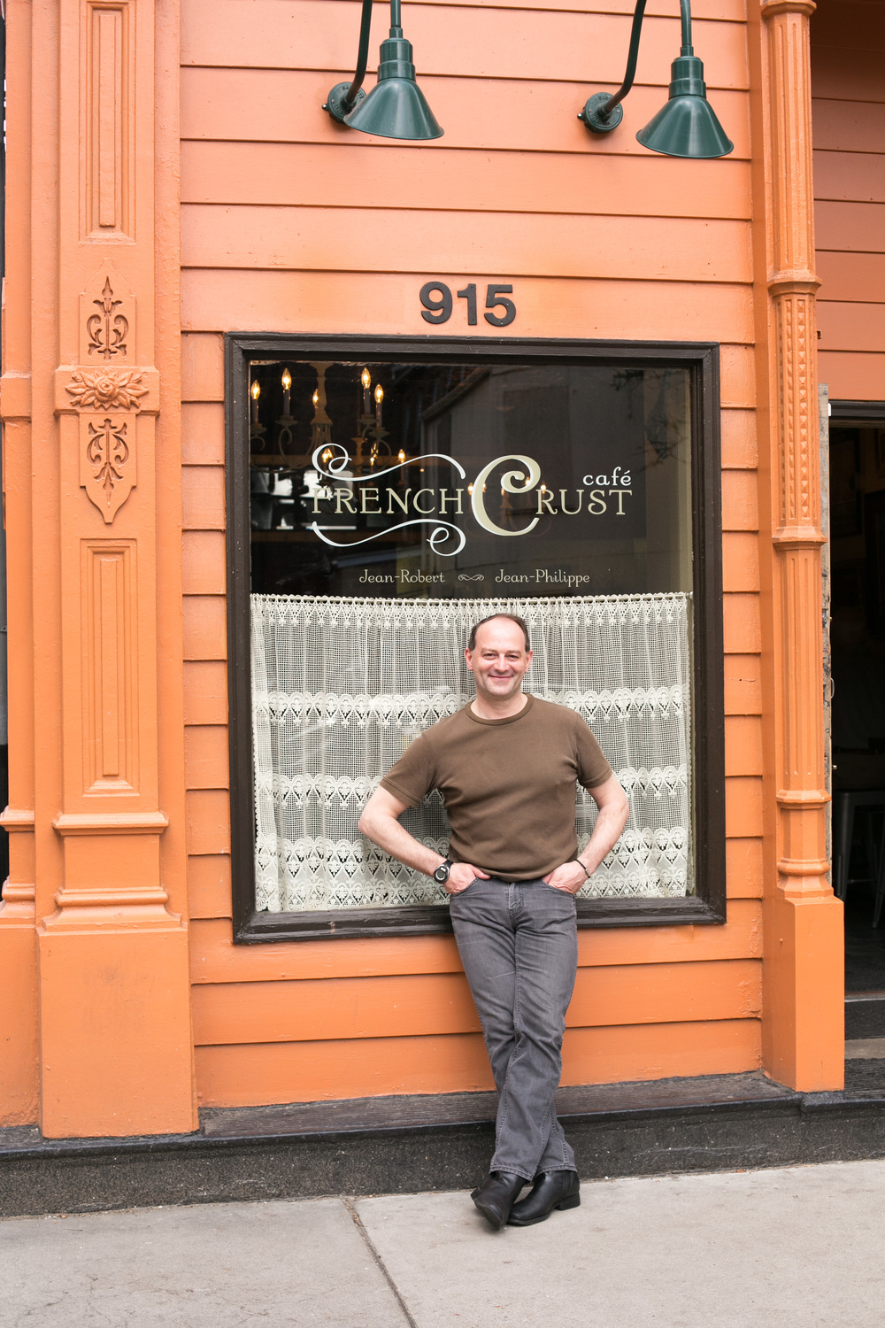 Co-owner, pastry chef and chocolatier Jean Philippe Solnom stands outside this charming little breakfast and lunch café co-owned by Chef Jean-Robert de Cavel, chef and owner of Jean-Robert's Table.