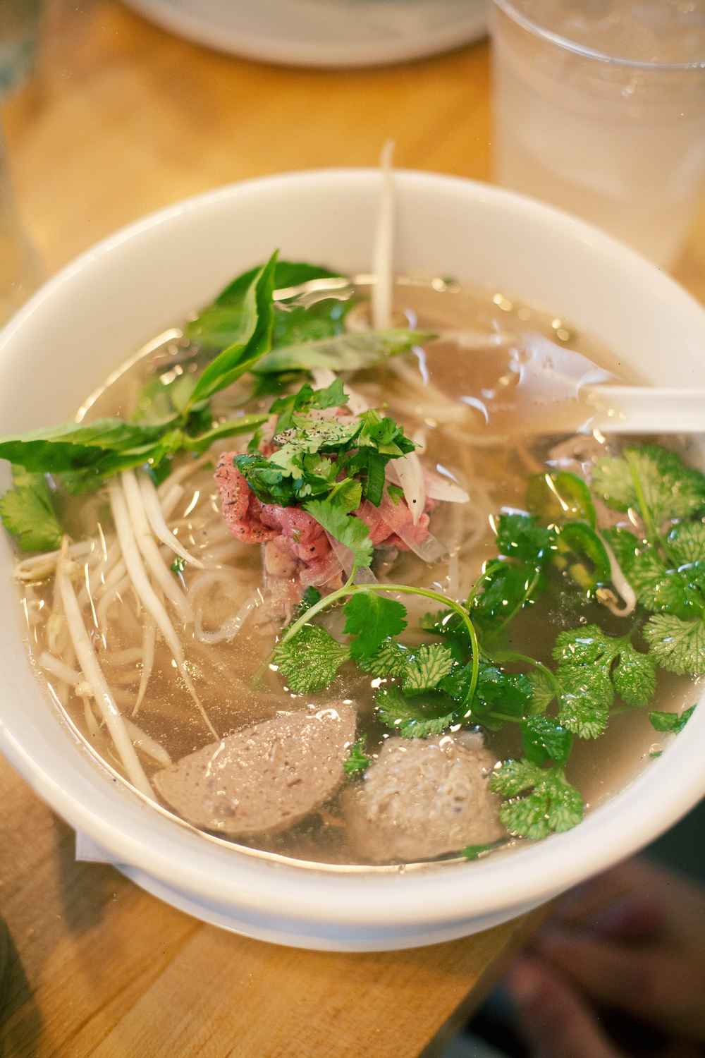Located at the Findlay Market, this Vietnamese restaurant offers a variety of vegetarian and vegan dishes full of flavor with outdoor seating where you can enjoy your meal amidst the activity of the market. Flavorful, fresh and reasonably priced. Featured here is the soup Pho Bo Tai + Bo Vien.