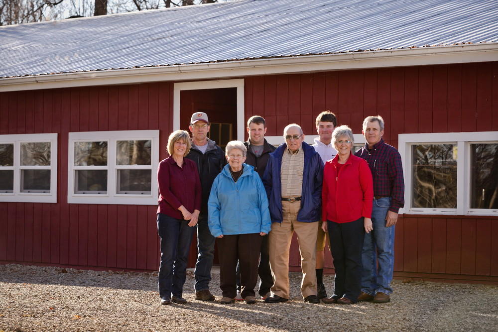 Left to right: Kathie and Dan Brown, husband and wife; Kate Brown, mother of Dan and Kelly; Dane Brown, Kathie and Dan's son; William Brown, father of Dan and Kelly; Brenden Reed, great grandson of Bill and Kate; Marcia and Kelly Brown, husband and wife.