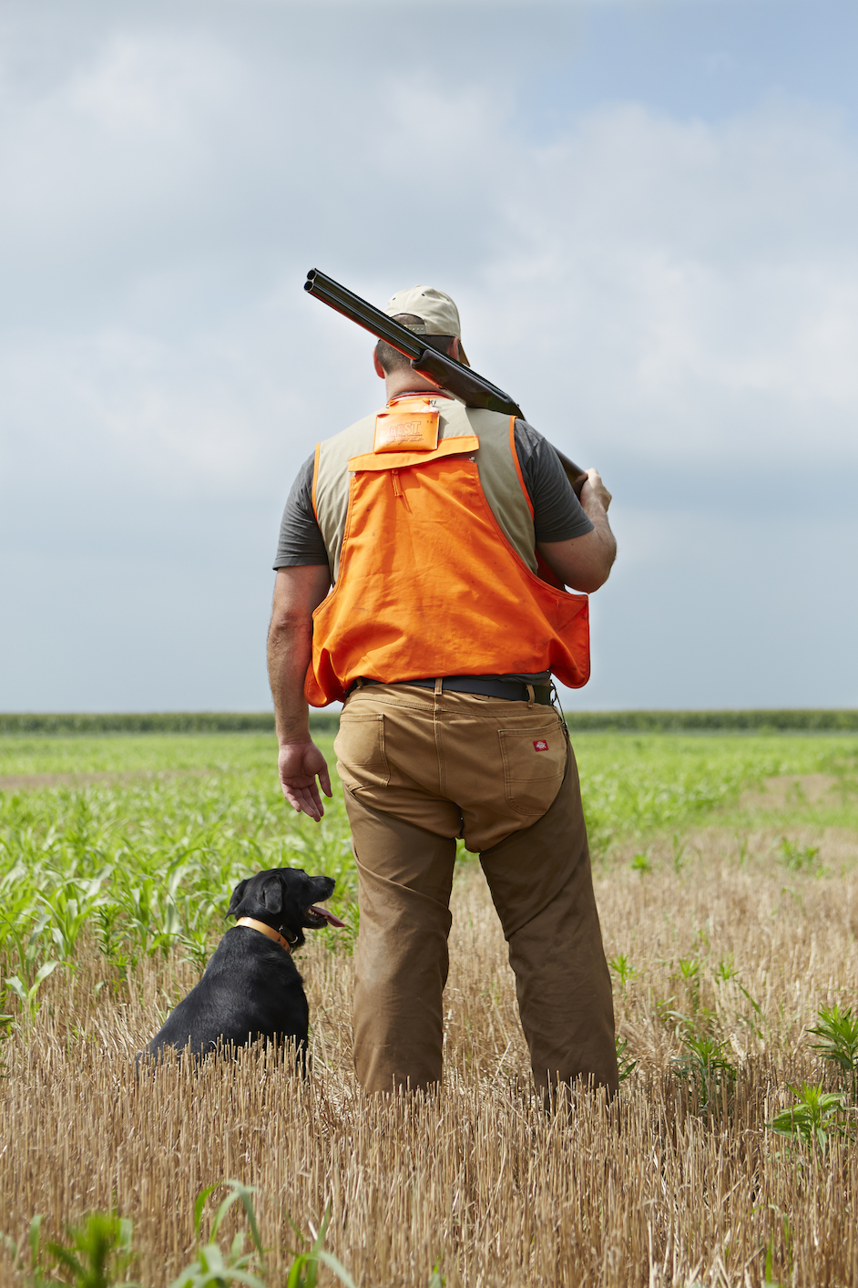 Local hunter Steve Berk with his hunting dog, Lulu, at Cherrybend Pheasant Farm