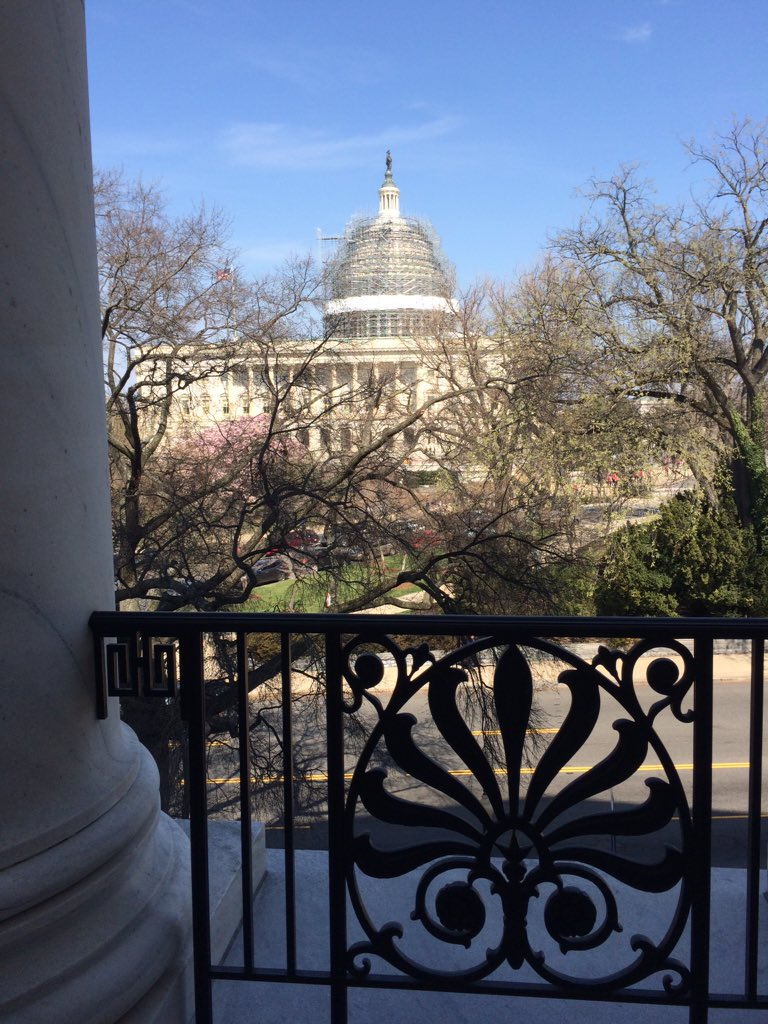 A view of the Capitol building from the veranda outside of the House Agriculture Committee Room in the Longworth House Office Building.