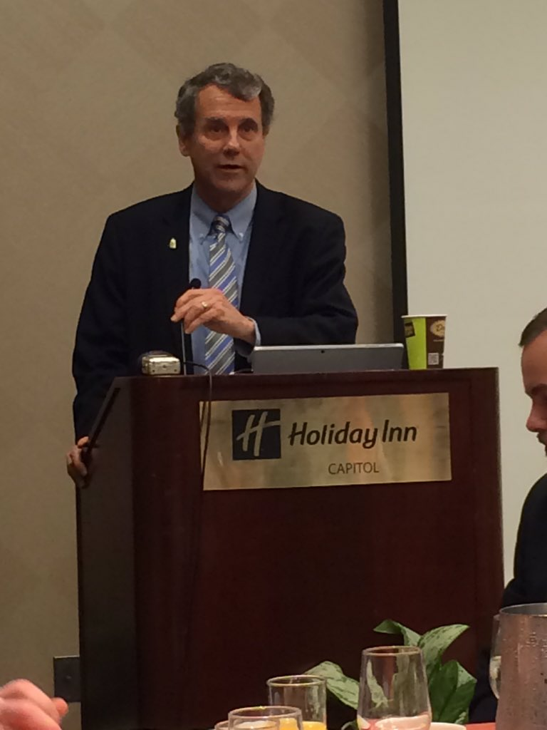 Senator Sherrod Brown addressing the Ohio Farm Bureau Federation's County Presidents' Trip members during the group's 70th annual advocacy and educational trip to Washington D.C. in March 2016.
