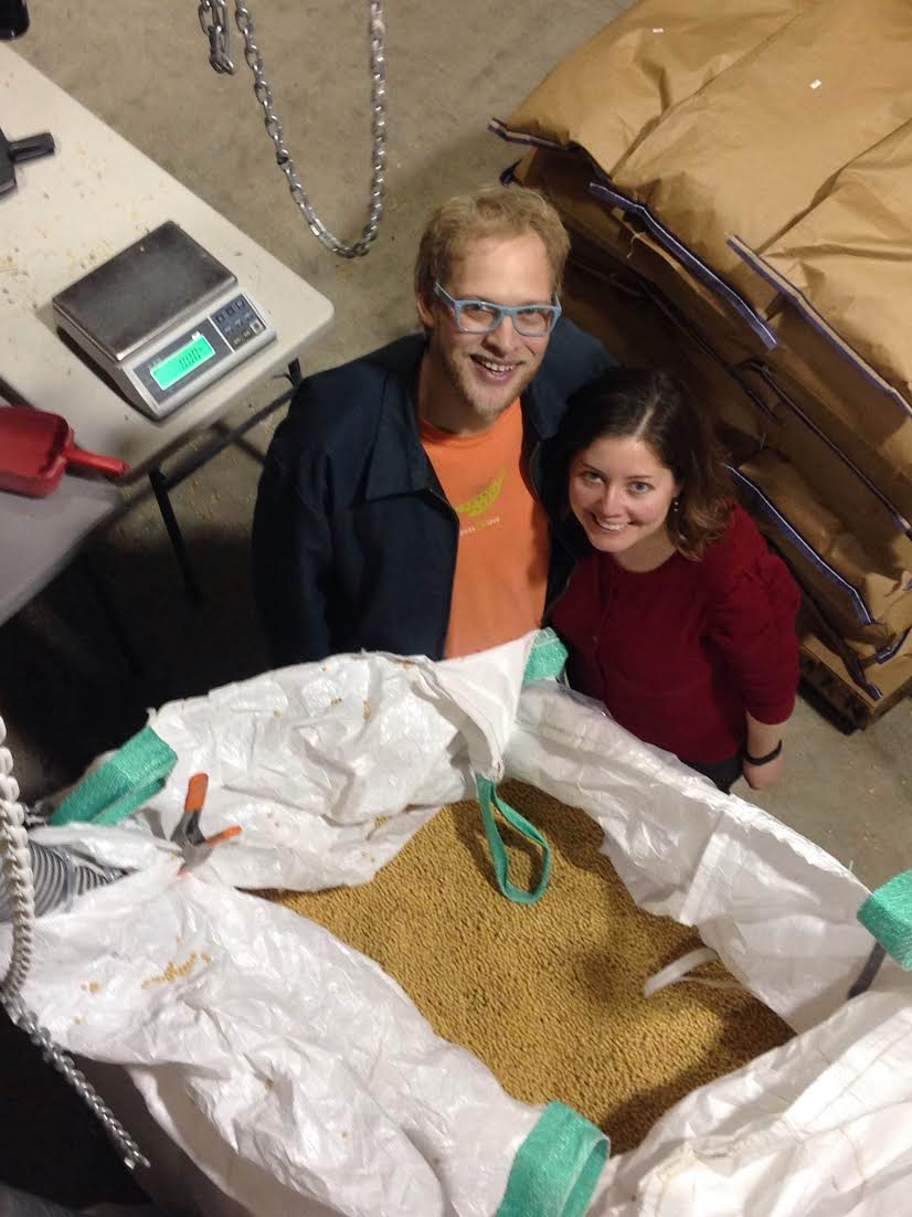 Peter Schmidt and Corrie Callaghan with their soybeans at Shagbark Seed & Mill. Photo courtesy of Michelle Ajamian.
