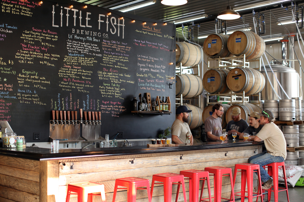 Inside Little Fish Brewing Company in Athens, Ohio