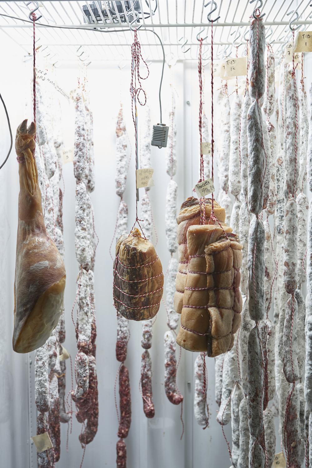 North Country Charcuterie product hangs in the curing chamber at The Commissary