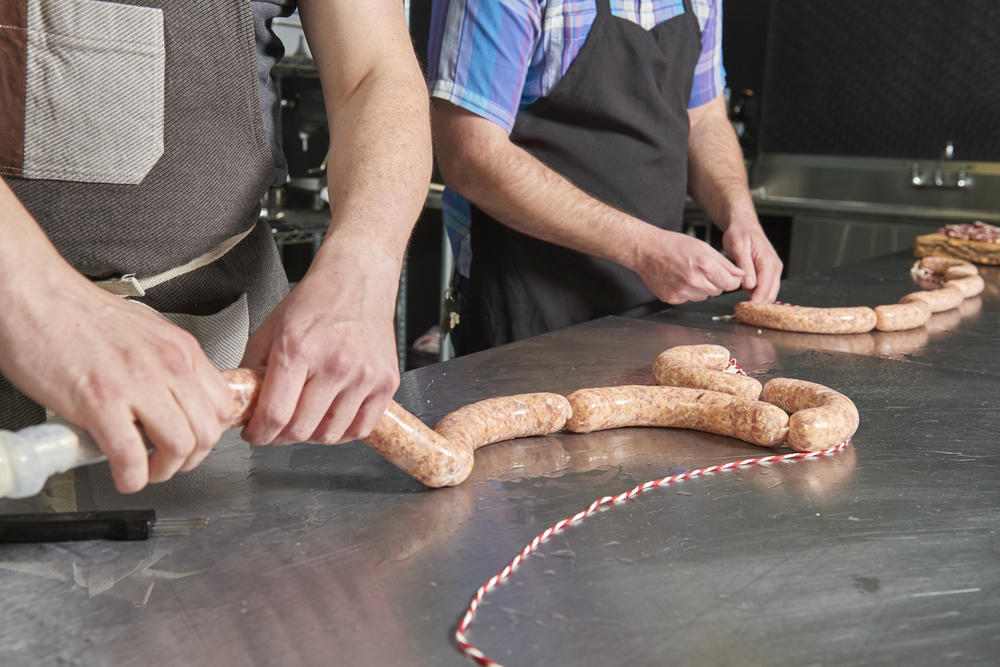 James Forbes of North Country Charcuterie making salami in the kitchen at The Commissary