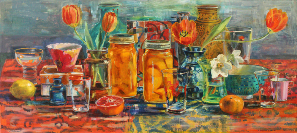 """Peaches and Tulips,"" by Carol Stewart, oil on paper on panel, 18 inches by 41 inches"""