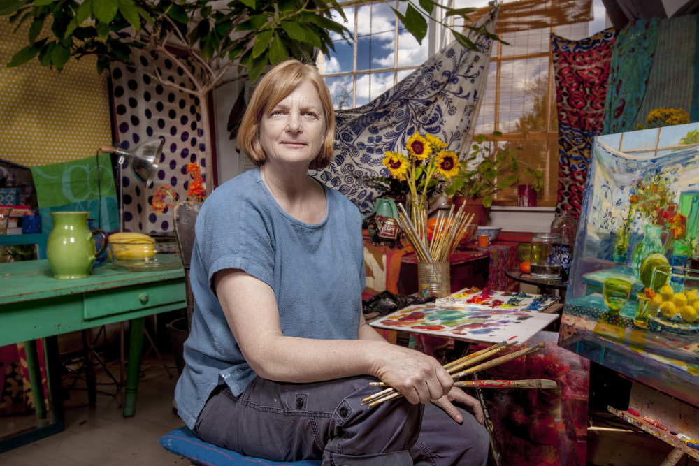 Painter Carol Stewart in her studio at Milo Arts Center in Columbus, Ohio