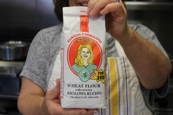 The wheat flour for the pierogi dough comes from Poland, shipped to Helena by relatives.