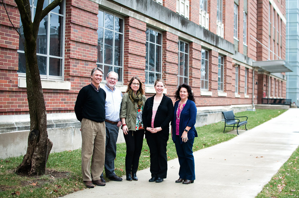 InFACT team from left to right is as follows: The Initiative for Food and AgriCultural Transformation (InFACT) at The Ohio State University; Casey Hoy, PhD, Faculty Director; Brian Snyder, Executive Director; Angela Latham, Program Coordinator; Nicole Pierron Rasul, Program Coordinator; and Cheryl Fischnich, Office Associate.