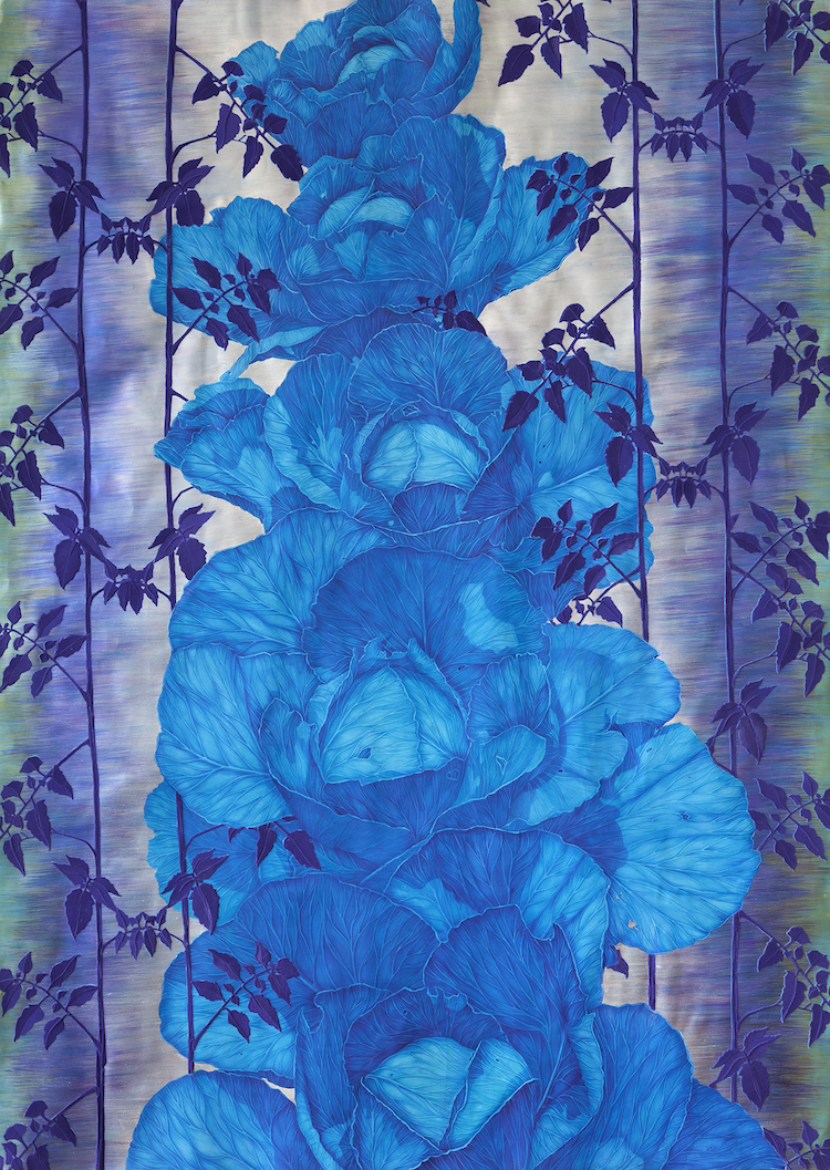 """Blue Cabbage and Tomato Leaves,"" 72 inches x 54 inches, acrylic and nylon flocking (velvet) on paper by Sarah Fairchild."