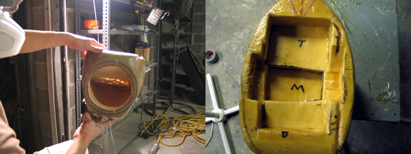 The sub enclosure's sub port (left) and back surface, crossover section deepest and amplifier section on top.