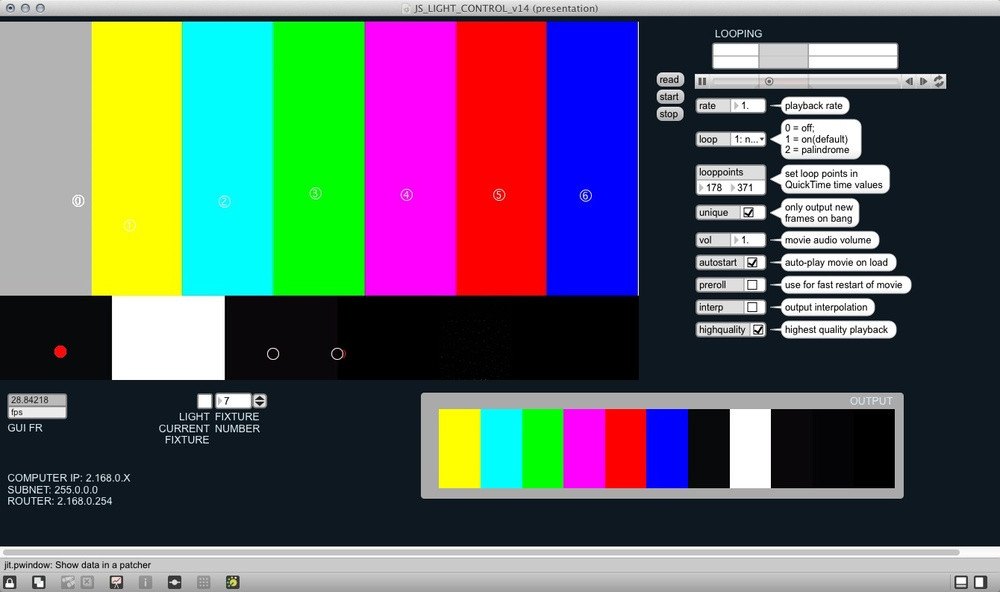 Pick some color points by clicking on a source video (top left), preview the resultant output to your lights (bottom right) ...