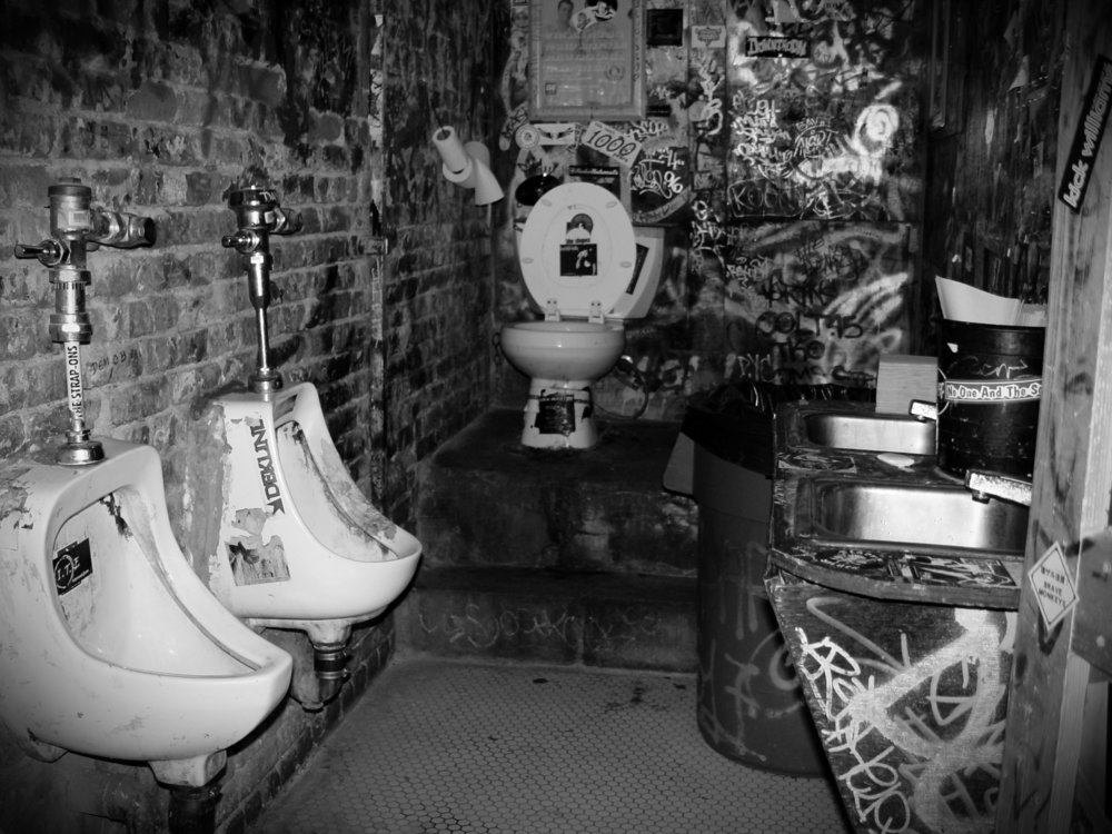 CBGB's bathroom comes up in this interview so here you go. Image courtesy of Flickr user thenails — click for source.