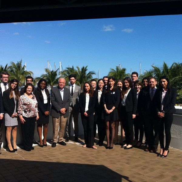 Miami Mayor Tomas Regalado and Managing Principal Alex Easdale with students from The prestigious ESSEC French Business School.