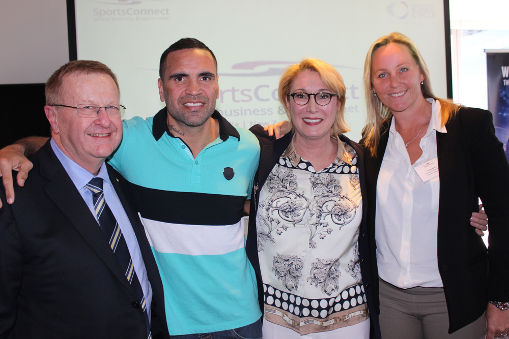 Olympic and professional athletes come together to support new book on athlete mental health - Sydney launch of Wired to Play: The Metacognitive Athlete.   Photo L - R: John Coates AOC, Anthony Mundine World Boxing Champion, Gayelene Clews Psychologist and Author, Liz Weekes Olympic Gold medallist (Water Polo)