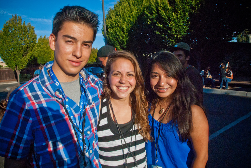 Stefie, filling the role of Camp Director, stands alongside two interns from the Tech & Arts Camp during summer 2014.