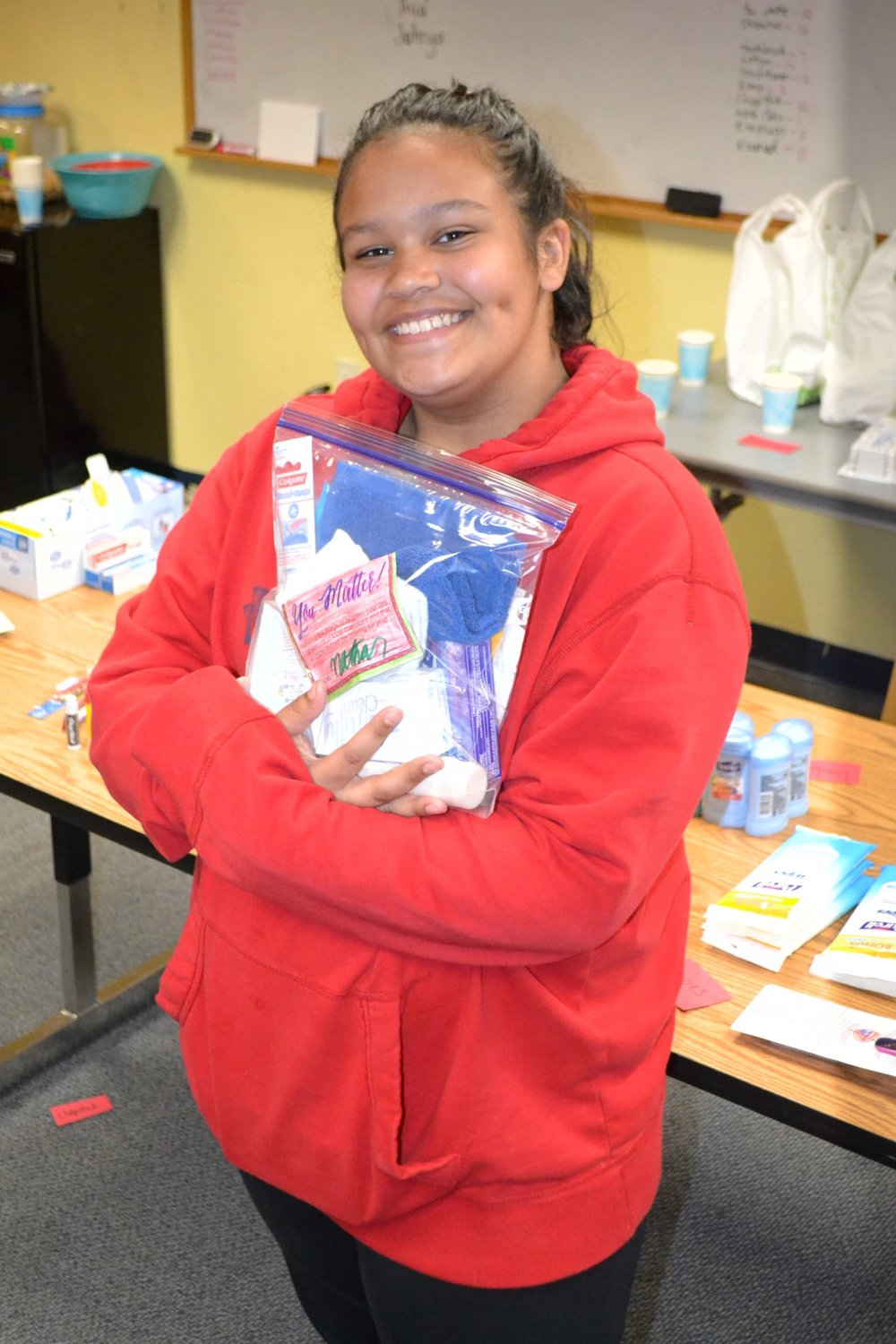 The Final Product! - This student and her Blessing Bag are ready to bring a little bit of joy to someone in need.