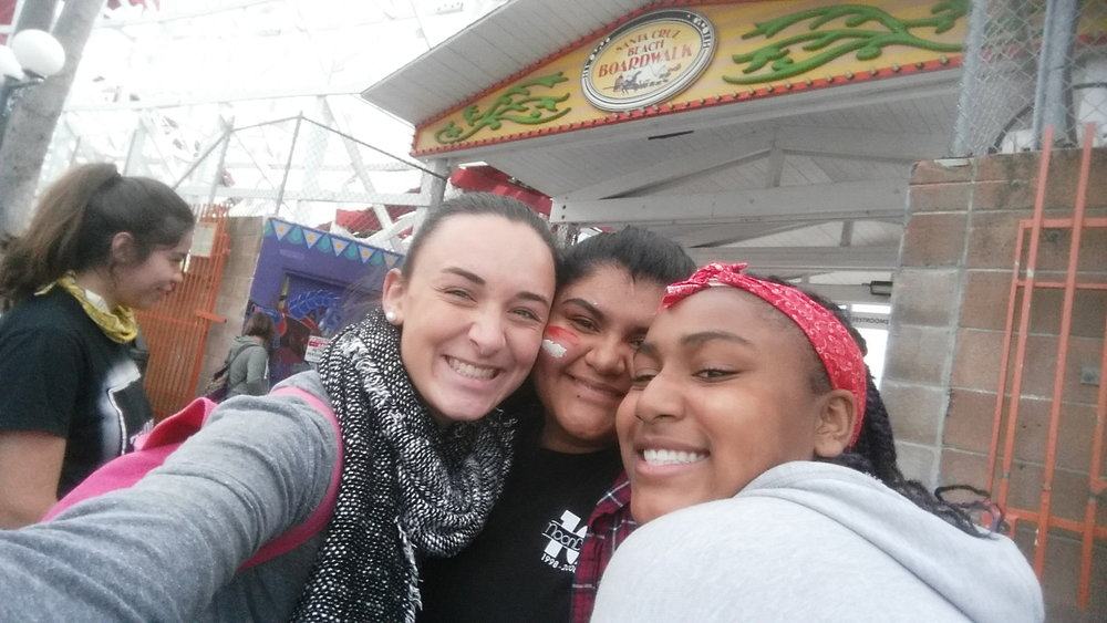 The Boardwalk! - Jordan and her students snap a picture at Santa Cruz Beach Boardwalk.