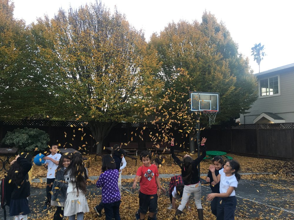 Lets Play - KidSmart students play in the leaves during recess.