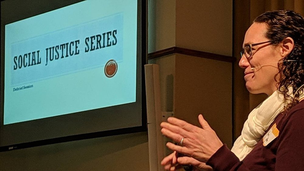 In this picture Amy gives the Justice Series presentation.