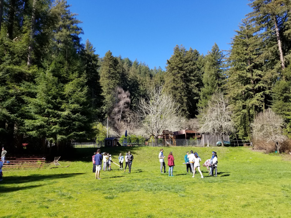 Students play outdoor games during the retreat.